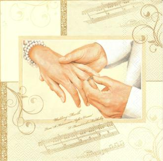 4 Serviettes en papier Mariage Alliances Format Lunch