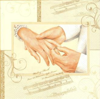 4 Serviettes en papier Mariage Alliances Format Lunch