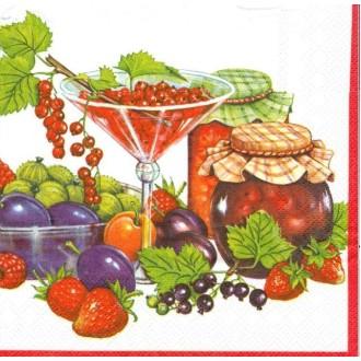4 Serviettes en papier Confiture Fruits Rouges Format Lunch