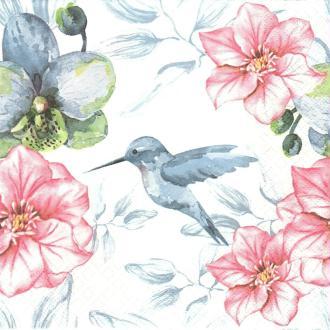 4 Serviettes en papier Oiseau Colibri Fleurs Format Lunch
