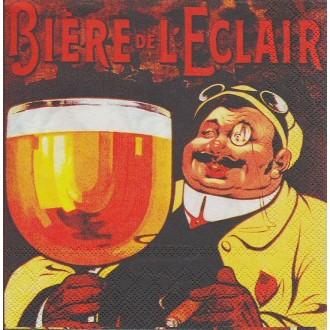 4 Serviettes en papier Publicité Bière de l'éclair Format Cocktail