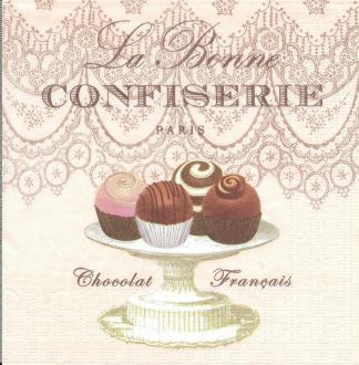 4 Serviettes en papierLa bonne confiserie Chocolat Format Lunch