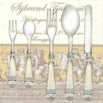 4 Serviettes en papier Cuisine Couverts Format Lunch