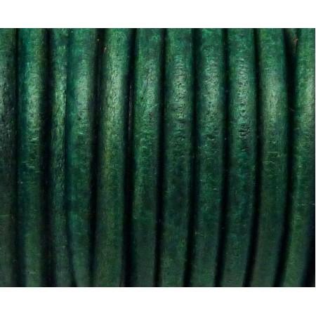 20cm De Cordon Cuir Rond 4,6mm De Couleur Vert Bouteille - La Cuisine des Perles