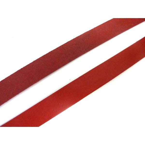 20cm Lanière Cuir Largeur 15mm De Couleur Rouge - Photo n°2