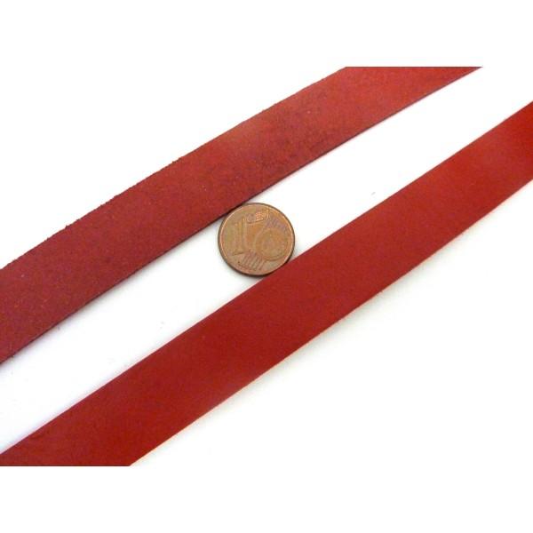 20cm Lanière Cuir Largeur 15mm De Couleur Rouge - Photo n°3