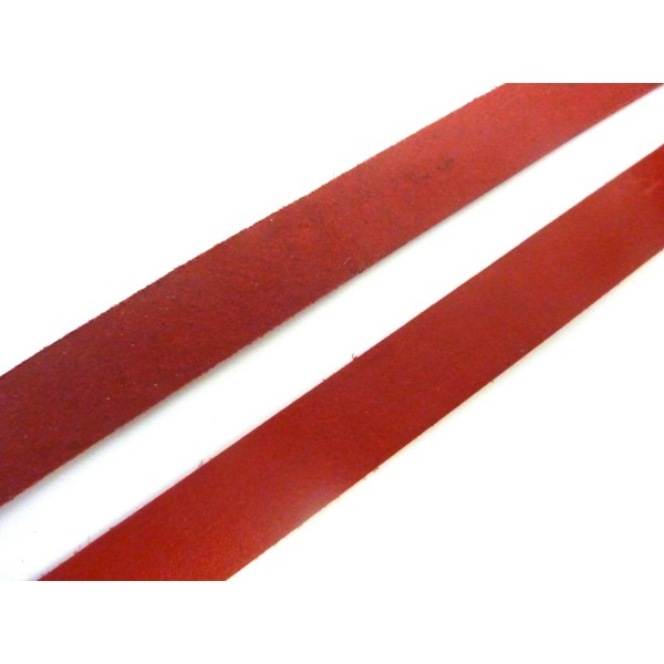 20cm Lanière Cuir Largeur 15mm De Couleur Rouge - Photo n°1