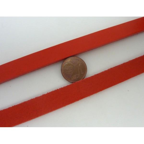 20cm Lanière Cuir Largeur 14,5mm De Couleur Rouge - Cuir Véritable - Epaisseur 1,8mm - Photo n°2
