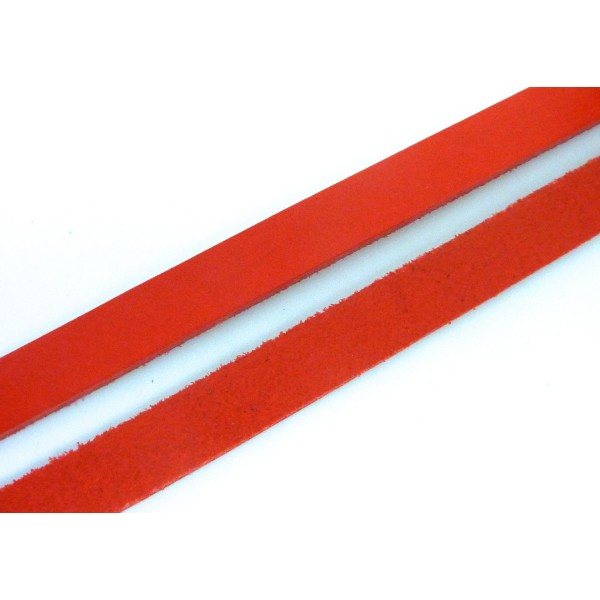 20cm Lanière Cuir Largeur 14,5mm De Couleur Rouge - Cuir Véritable - Epaisseur 1,8mm - Photo n°1