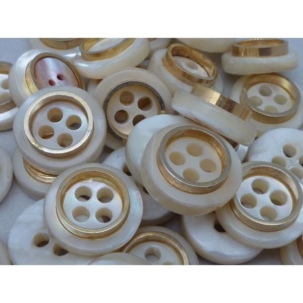 6 Boutons Connecteur Vintage Rond Écru Et Doré Nacre 22mm - Photo n°1