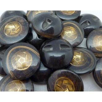 6 Boutons Moulé Connecteur Vintage Rond Noir, Marron Doré 22,2mm