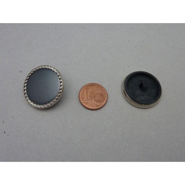 6 Boutons Connecteur Vintage Rond Gris Bleu Et Argenté 23,5mm - Photo n°3