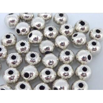 20 Perles Ronde En Métal Argenté Pour Cordon 1,5mm