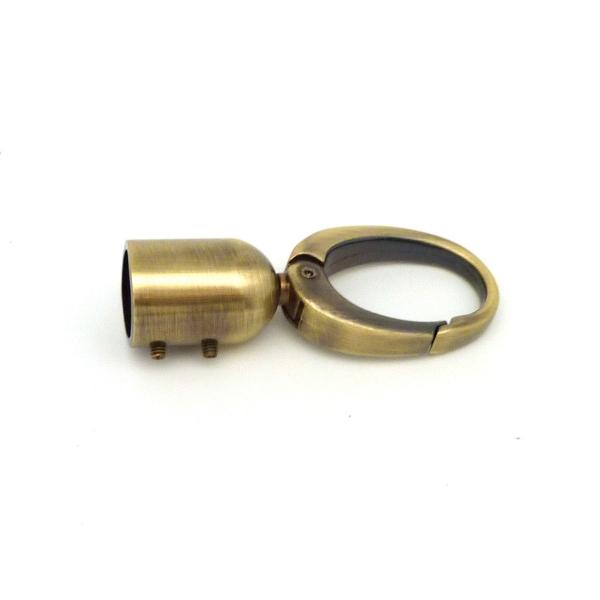 Grand Mousqueton Avec Embout En Zamak Couleur Bronze, Vieil Or 6,5cm - Photo n°2