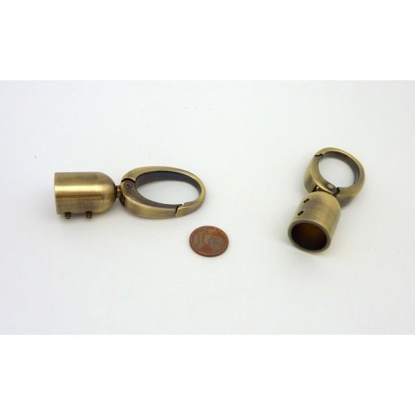 Grand Mousqueton Avec Embout En Zamak Couleur Bronze, Vieil Or 6,5cm - Photo n°3