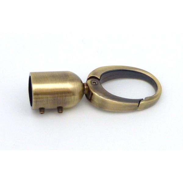 Grand Mousqueton Avec Embout En Zamak Couleur Bronze, Vieil Or 6,5cm - Photo n°1