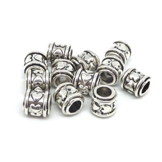 10 Perles Tube Gravé Coeur, Tonneau En Métal Argenté 8,6mm à Gros Trou
