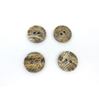 4 Boutons Rond 28,3mm Vert Beige Strié Et Dessous Noir