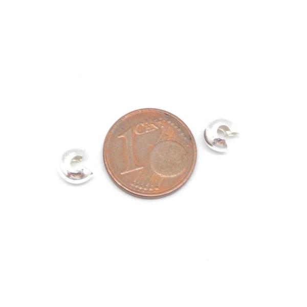 30 Perles Caches Noeud À Serrer 5mm En Métal Argenté Brillant - Photo n°2