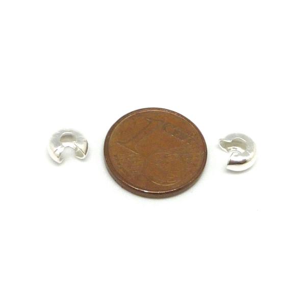 30 Perles Caches Noeud À Serrer 5mm En Métal Argenté Brillant - Photo n°4