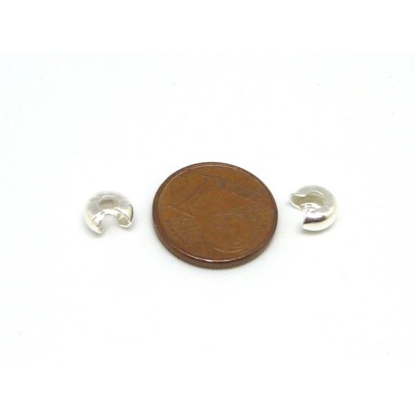 30 Perles Caches Noeud À Serrer 5mm En Métal Argenté Brillant - Photo n°5