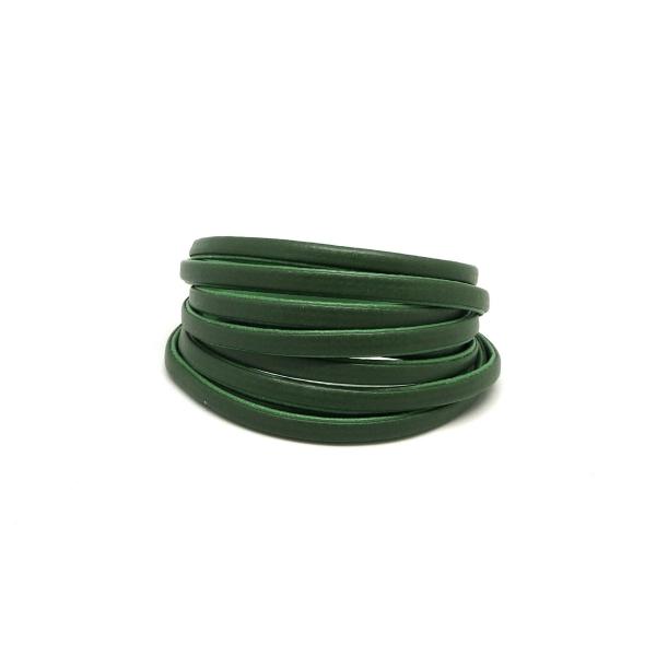 1,2m Cordon Plat Cuir Synthétique Bicolore Vert Grenouille / Vert Olive 6mm - Photo n°2