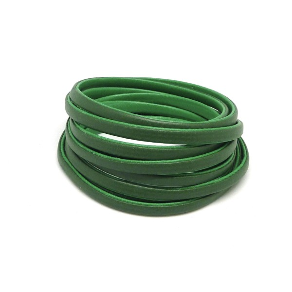 1,2m Cordon Plat Cuir Synthétique Bicolore Vert Grenouille / Vert Olive 6mm - Photo n°1