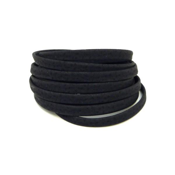 1,8m Cordon Plat Cuir Synthétique 5mm De Couleur Noir Mat - Photo n°1