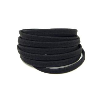 1,8m Cordon Plat Cuir Synthétique 5mm De Couleur Noir Mat