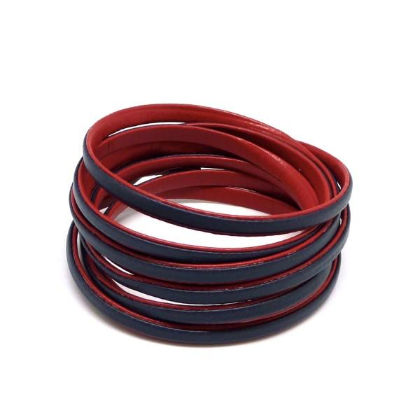 1,6m Cordon Plat Cuir Synthétique Bicolore Rouge / Bleu Marine 5mm - Photo n°1