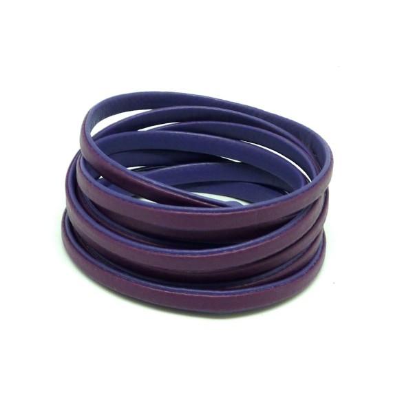 1,6m Cordon Plat Cuir Synthétique Bicolore Violet Orchidée / Violet Iris 5mm - Photo n°1