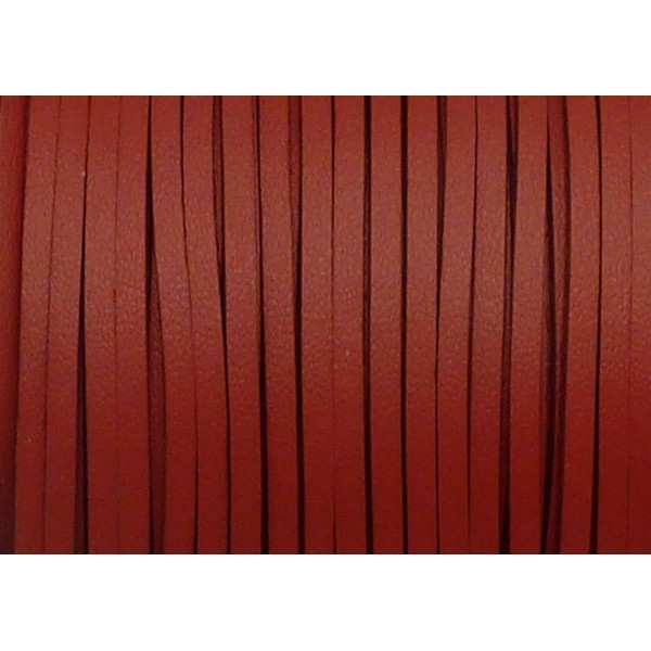 5m Cordon Plat Cuir Synthétique De Couleur Rouge Bordeaux 2,5mm - Photo n°1
