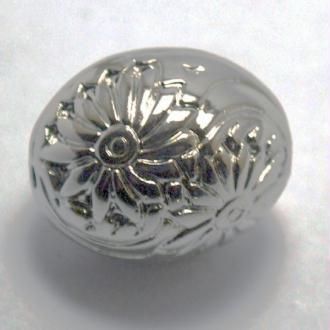 Perle CCB (24 x 29 mm) forme olive métallisé couleur argenté