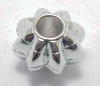 Perle CCB (19 x 12 mm) forme donut cannelet métallisé couleur argenté