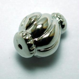 10 Perles CCB alongée (25 x 20 mm) métallisé couleur platine
