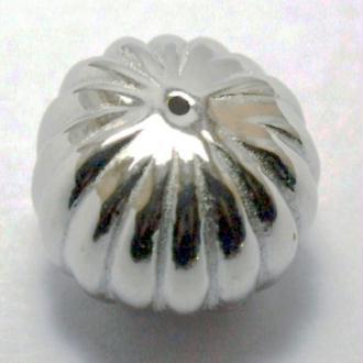 10 Perles melon cannelet 18x12 mm métallisé couleur platine