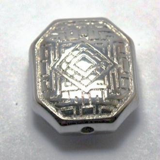 10 Perles hexagonale plate motif ethnique métallisé couleur platine