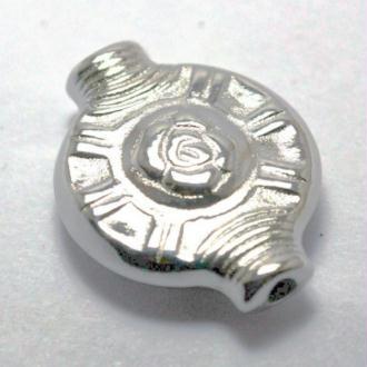 10 Perles plate CCB métallisé couleur platine esprit ethnique