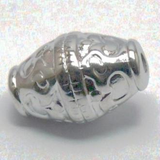 10 Perles ( 19 x 12 mm) forme allongée métallisé couleur argenté