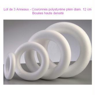 Lot de 3 Anneaux - Couronnes polystyrène plein diam. 12 cm, Bouées haute densit&eacute