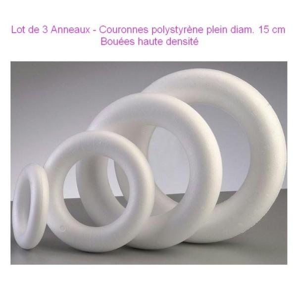Lot de 3 Anneaux / Couronnes polystyrène plein diam. 15 cm, Bouée haute densité - Photo n°1