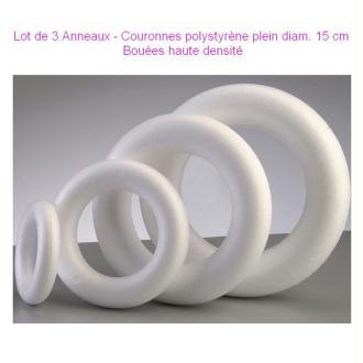 Lot de 3 Anneaux / Couronnes polystyrène plein diam. 15 cm, Bouée haute densité