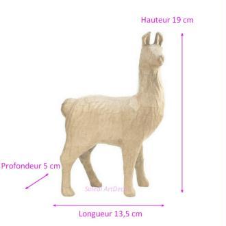 Lama en papier mâché, Sculpture Animal d''Amérique du Sud 19x13,5x5cm