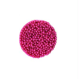 100 Petite perles ronde nacré acrylique fuchsia 4 mm
