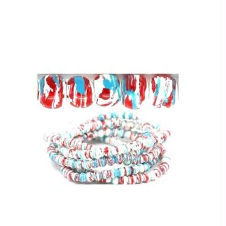 50 Perles en verre multicolore diamètre 4 mm Couleur à effet tachetée