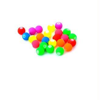 50 Perles multicolore fluo - Diam. 8 mm - Couleur mixte