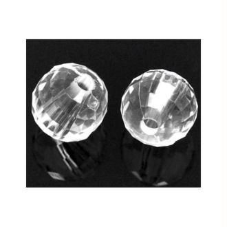 50 Perles facettes - Diam. 8 mm - Couleur transparent