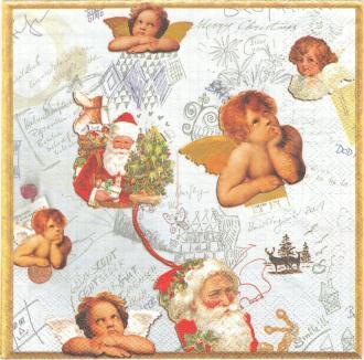 4 Serviettes en papier Anges et Père Noël Format Lunch