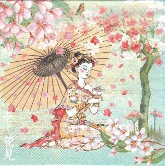 4 Serviettes en papier Japon Geisha Fleurs de Cerisier Format Lunch