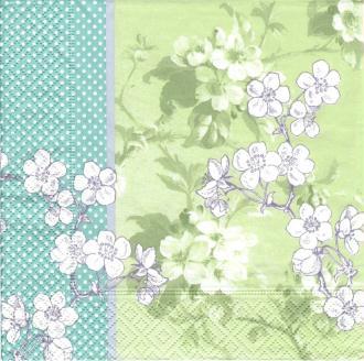 4 Serviettes en papier Fleurs de Cerisier Japon Format Lunch